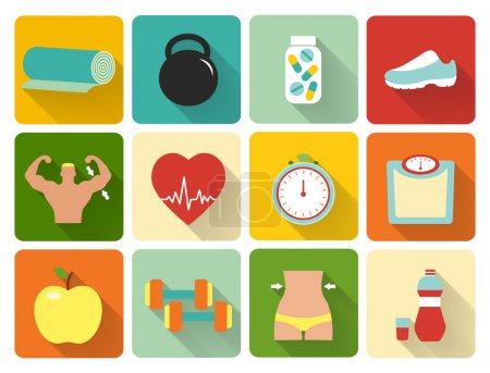 Illustration for Vector healthy life icons in flat style. Weight control fitness nutrition and vitamins - Royalty Free Image