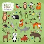 Forest Animals large set hand-drawn illustration w...