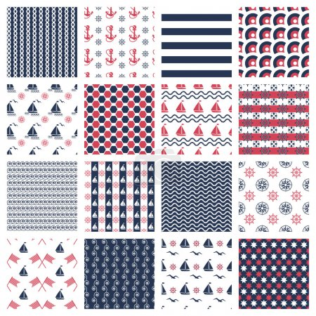 Illustration for Set of nautical or marine seamless patterns with boats, anchors, chains and waves - Royalty Free Image