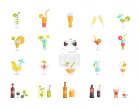 Illustration pour Grand ensemble d'icônes vectorielles colorées de cocktails tropicaux de fête festive et boissons alcoolisées et boissons telles que le jus de bière, le vin de café et le champagne sur blanc - image libre de droit