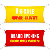 Two colorful red and yellow rectangular textile banners suspended from the corners by ropes with slogans Big Sale Opening Soon Grand Opening Coming Soon vector illustration