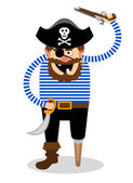 Stereotypical vector pirate on a white background with a wooden peg leg one eye and a skull and crossbones on his hat wielding a cutlass and pistol