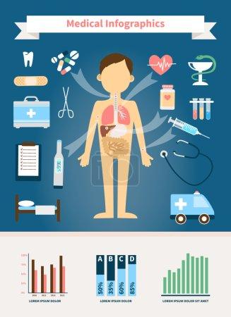Illustration pour Healthcare and Medical Infographics. Figure humaine avec organes internes et dispositifs médicaux - image libre de droit