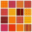 Vector red and yellow seamless geometric patterns