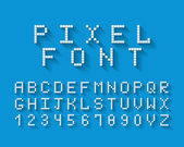 Pixel vector font with a complete set of uppercase alphabetical letters and the numbers 0 through 9 on a blue background