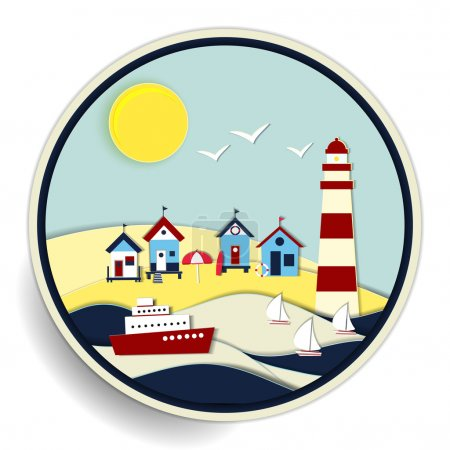 seascape with lighthouse and ships badge