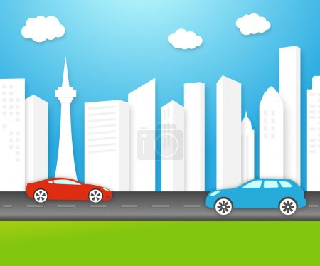 Illustration for Vector eco-friendly city skyline with fresh clean white buildings under a sunny unpolluted blue sky with electric cars on the highway and lush green grass - Royalty Free Image