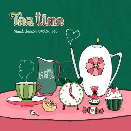Illustration pour Teatime Party Card ou Invitation design vectoriel avec une tasse de théière et une soucoupe lait cruche sucre bonbons et gâteau ainsi qu'une horloge montrant l'heure du thé de l'après-midi sur une jolie nappe rose - image libre de droit