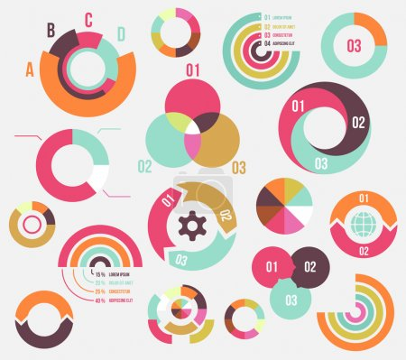 Illustration for Circle charts and diagrams templates collection for business - Royalty Free Image