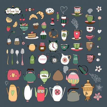 Illustration pour Grand ensemble de tasses à thé dessinées à la main vectorielles théières samovar cruches couverts pâtisseries croissants bagels et bonbons sur un fond gris foncé en format carré - image libre de droit