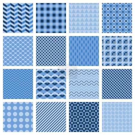 Illustration for Set of 16 different seamless geometric patterns in blue with zigzags diamond stripes squares dots wavy lines triangles and a lattice vector illustration - Royalty Free Image