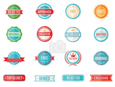 Illustration for Set of sixteen vector colored emblems and stamps in flat style depicting denied approved exclusive original certified free and 100 percent guarantee in round and rectangular banner form - Royalty Free Image