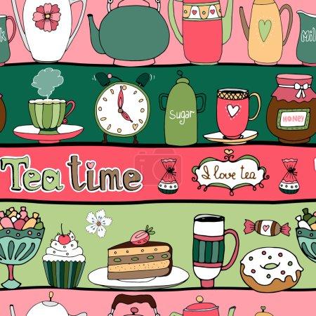 Illustration pour Temps de thé motif de fond sans couture avec théières bouilloires gâteaux bonbons tasses miel de bonbons et un réveil disposé en alternance rangées roses et vertes en format carré pour papier peint et tissu - image libre de droit