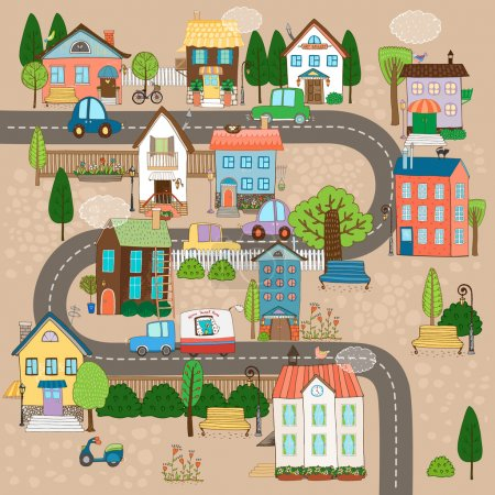Illustration for Vector Cityscape Illustration. City or town on road - Royalty Free Image