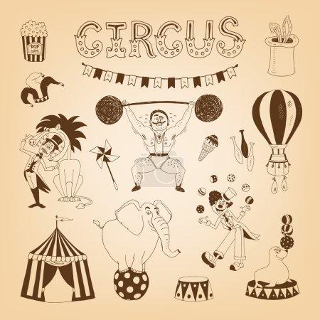 Illustration pour Éléments de cirque vintage pour la conception d'affiches avec éléphant et dompteur de lion - image libre de droit