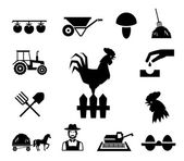 Rooster on fence surrounded by farm themed icons on white background