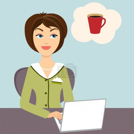 Illustration for Vector illustration of an attractive young secretary sitting at her desk working on a laptop computer dreaming of a mug of refreshing hot coffee - Royalty Free Image