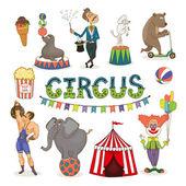 Vector circus  funfair and fairground icon set