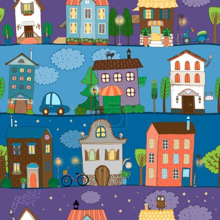 Illustration for Several colorful and cute house designs at different times of the day - Royalty Free Image