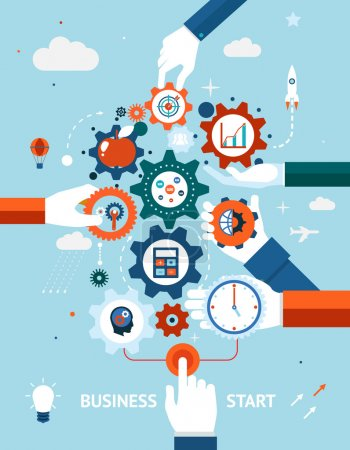 Illustration for Conceptual vector illustration of a business and entrepreneurship business start or launch with gears and cogs with various icons for industry and business held by hands one pushing the start button - Royalty Free Image