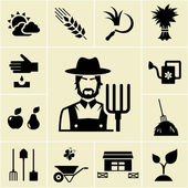Farmer surrounded by farming themed icons
