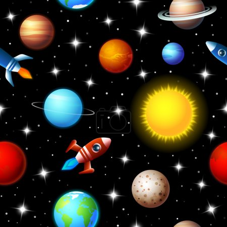 Illustration for Brightly colored background seamless kids design of rockets flying through a starry sky in outer space between a variety of planets in the galaxy in a travel and exploration concept - Royalty Free Image