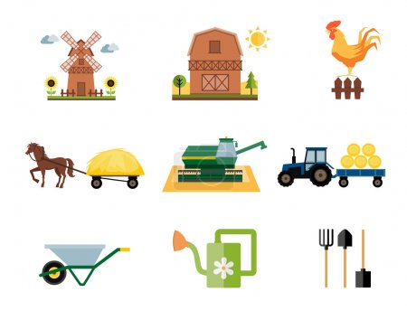 Illustration for Vector colored farm and farming icons in flat style - Royalty Free Image