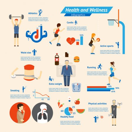 Illustration for Fitness, nutrition and health Infographics vector elements - Royalty Free Image