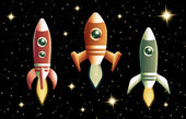Set of three retro vector rockets or spacecraft flying through outer space with flaming turbo boosts against a dark starry sky