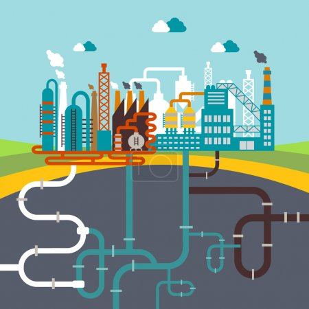 Illustration for Vector illustration of a factory for manufacturing products or refinery plant for processing natural resources with a network of attached pipes for distribution for infographics - Royalty Free Image