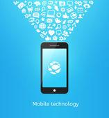Smartphone na modré