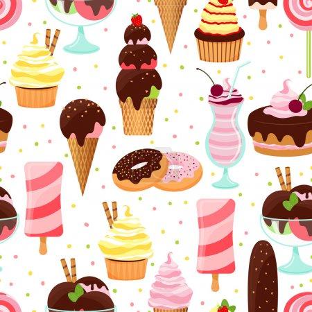 Illustration pour Crème glacée vectorielle colorée et bonbons motif de fond sans couture avec cônes de crème glacée sundae et desserts parfaits beignets gâteau aux cerises cupcakes et milkshake en format carré - image libre de droit