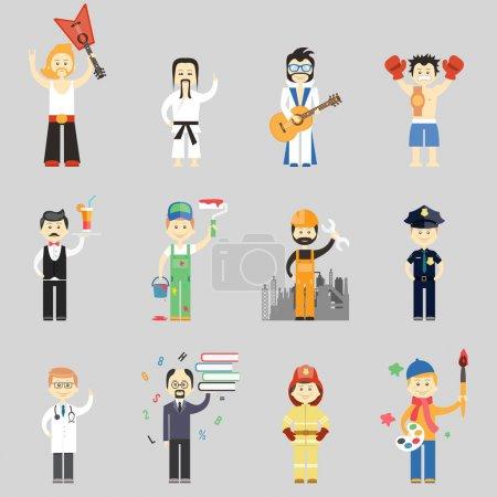 Photo pour Ensemble de personnages vectoriels dans différentes professions, y compris les musiciens d'arts martiaux serveur peintre travailleur de la construction policier médecin professeur pompier et artiste - image libre de droit