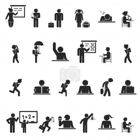 Illustration pour Ensemble d'icônes de silhouette d'écoliers noirs montrant une grande variété d'activités à l'intérieur et à l'extérieur de la salle de classe conceptuel de l'enseignement secondaire - image libre de droit