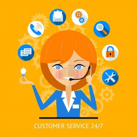 Ilustración de Icono de servicio al cliente de una prostituta centro muy sonriente usando un auricular rodeado de varios iconos web online para pago wifi buscar seguridad y medios de comunicación social - Imagen libre de derechos