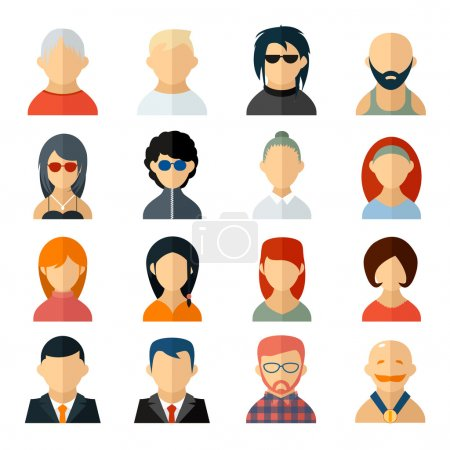 Illustration for Set of user avatar icons in flat style with diverse men and women  old to young  professionals to sporty  bald to colorful harstyles  business to casual attire - Royalty Free Image