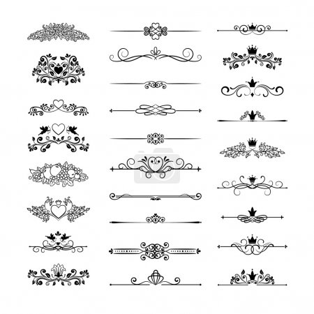 Illustration for Vector vintage page decor with crowns, arrows and floral elements - Royalty Free Image