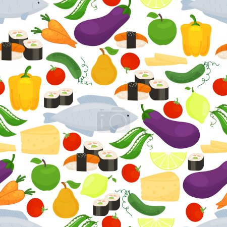 Healthy food seamless background pattern