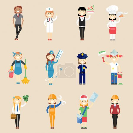 Photo for Set of icons of girl characters in professional clothing with a doctor  waitress  cook  chef  cleaner  air hostess  policewoman  painter  architect  engineer  artisan  businesswoman and postwoman - Royalty Free Image