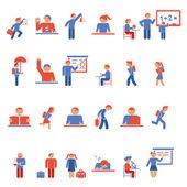 Children in school flat icons