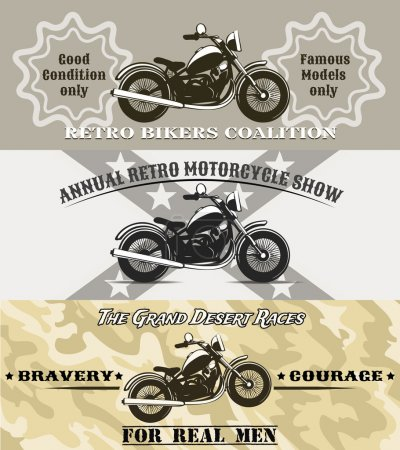 Illustration for Retro motorcycle banners vector illustration in vintage style - Royalty Free Image
