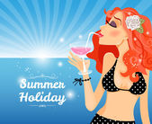 Summer Holiday poster design with a beautiful young redhead woman in a bikini sipping a martini cocktail overlooking a sunny blue tropical ocean