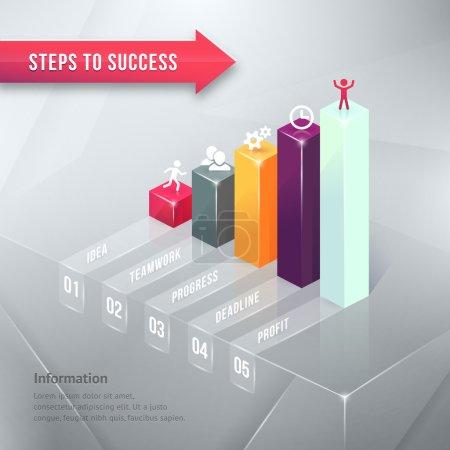 Illustration pour Vers le succès Carte d'affaires colorée Élément d'infographie isolé sur fond gris . - image libre de droit