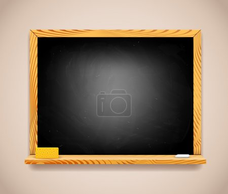 Vector Black Chalkboard on Light Brown Wall