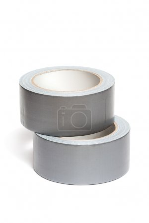 Photo for Rolls of white adhesive tape, isolated on white background - Royalty Free Image