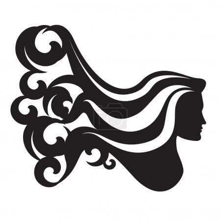 Profile silhouette of a woman head with long waving hair