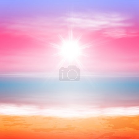 Illustration for Sea sunset with bright sun. EPS10 vector. - Royalty Free Image