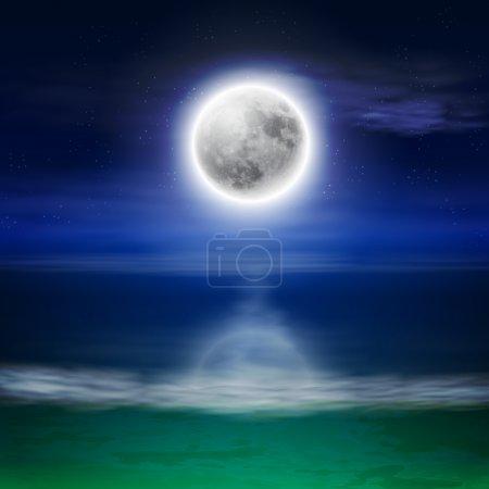 Illustration pour Plage avec pleine lune la nuit. Vecteur EPS10 . - image libre de droit