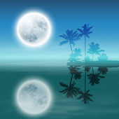 Sea with island with palm trees and full moon at night