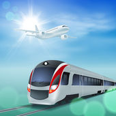 High-speed train and airplane in the sky Sunny day